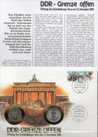 Numisbrief Deutschland 1989 Numisletter 1DM/1M+DDR 3037 SST 25€ Grenze Offen Brandenburger Tor Berlin Coin Cover Germany - 1 Mark