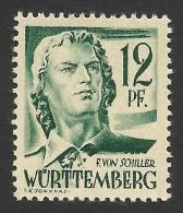 Germany, Wurttemberg, 12 Pf. 1947, Sc # 8N4, Mi # 4, MNH - Zone Française