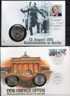 Numisbrief Deutschland 1989 BRD 1DM,1706+DDR 1M,20Mark,3037 SST 45€ Konfrontation An Grenze In Berlin Coin Cover Germany - [ 6] 1949-1990: DDR - Duitse Dem. Rep.