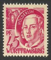 Germany, Wurttemberg, 45 Pf. 1947, Sc # 8N9, Mi # 9, MNH - French Zone