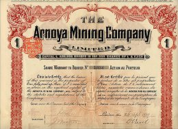 LOT : 6 X THE ARNOYA MINING COMPANY LIMITED 1907 - Mineral