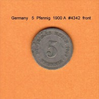 GERMANY   5  PFENNIG  1900 A  (KM # 11) - [ 2] 1871-1918 : German Empire