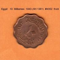 EGYPT   10  MILLIEMES  1943---AH 1362  (KM # 361) - Egypt
