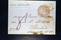 Great Britain: Cover 1857  Manchester Via Oostende Belgium To Berlin, England Per Aachen Franco Cancel In Red - 1840-1901 (Victoria)
