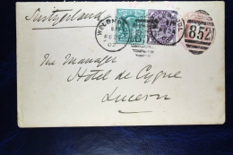 Great Britain: Cover Uprated From Welsgpool To Lucern Switserland, Nice Cancel 852 - Postwaardestukken