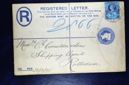 Great Britain: Uprated Registered Cover London To Rotterdam, 1895,  Label - Postwaardestukken