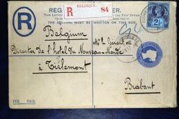Great Britain: Uprated Registered Cover To Tirlemont/ Tienen Belgium, Via Brussels+ Extra R Label Belgique - Postwaardestukken