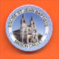 """Feve Assiettine Personnalisée  """"  Eglise St Jean Baptiste Chaumont ( 52 ) """" Maison Caillet - Région"""