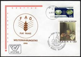 ÖSTERREICH 1981 - Welternährungstag - FDC Kombination Österreich - Italien - Ernährung