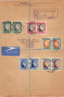 Lettre Recommandée De Pretoria South Suid Africa 1937 Série Complète 5 Paires Coronation King George VI - Yvert 77 à 87 - África Del Sur (...-1961)