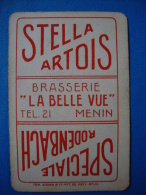 "1 rare carte � jouer Stella Artois / Speciale Rodenbach Brasserie ""Belle Vue"" � Menin T�l. 21"