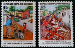 JOURNEE INTERNATIONALE DE L'ENVIRONNEMENT 1986 - NEUFS ** - YT 774/75 - MI 1035/36 - Congo - Brazzaville
