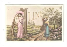 Carte Fantaisie Prénom : ALINE : 1 Femme élégante + 1 Paysanne Dans La Campagne + Prénom En Lettres Dorées - Prénoms