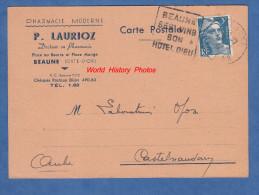 CPA - BEAUNE - Pharmacie Moderne P. LAURIOZ - Docteur En Pharmacie - Place Au Beurre Et Place Monge - 1947 - Beaune