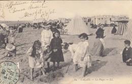 Thematiques 62 Pas De Calais Calais La Plage Animée Groupe D'Enfants Ecrite Timbrée 17 08 1906 - Calais