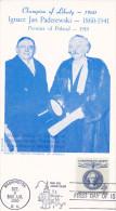Stamp & Postcard ; Ignace Jan Paderewski , Poland , PU-1960