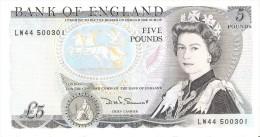 BILLETE DE REINO UNIDO DE 5 POUNDS DEL AÑO 1980-1984 (BANK NOTE) - 1952-… : Elizabeth II