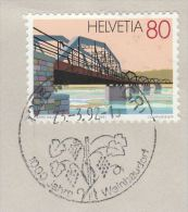 1992 COVER SWITZERLAND EVENT Pmk Illus GRAPES 1000 Years WEINBAUDORT  Fruit Alcohol Wine 80c BRIDGE Stamps - Wines & Alcohols