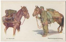 Illustrateur. Militaria. Maschinengewehrpackung. Rotes Kreuz. - Croix-Rouge
