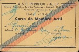 Carte De Membre Renard Jean - Footballclub De Perreux - 1946 - 1947 - Tickets - Entradas