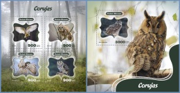 gb14409ab Guinea Bissau 2014 Birds Owls 2 s/s