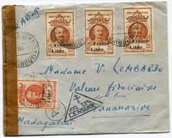 COTE FRANCAISE DES SOMALIS FRANCE LIBRE LETTRE PAR AVION CENSUREE DEPART DJIBOUTI 30 MAI 44 POUR MADAGASCAR - Côte Française Des Somalis (1894-1967)