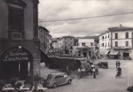 Sarzana-piazza S. Giorgio-viagg.1954-distrib. Esso-ristorante Laurina-animata - La Spezia
