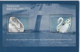 Austria (2004) Yv. Bf. 30  /  Minerals - Mineraux - Glass - Kristall - Crystal - Swarovski - UNUSUAL - Birds - Swan - Minéraux