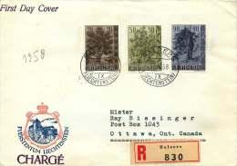 1958  Arbres  Michel 371-3  Sur FDC Recommandé Pour Les USA - FDC
