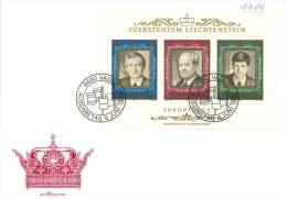 1988  50è Ann Règne Du Prince Franz Joseph II   Bloc-feuillet Michel Bloc 13  FDC Non Adressé - FDC