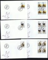 1990  Oiseaux  Blocs De 4 Et Timbres Seuls Michel 997-9 FDC Non Adressés - FDC