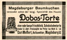 Original-Werbung/ Anzeige 1925 - MAGDEBURGER BAUMKUCHEN / DOBOS- TORTE /CARL MEFFERT MAGDEBURG  - Ca. 60 X 40 Mm - Publicités