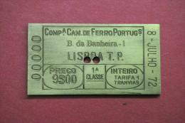 MEDALHA - COMPANHIA DE CAMINHOS DE FERRO - FORMATO BILHETE - BAIXA BANHEIRA - 1972 - Professionals / Firms