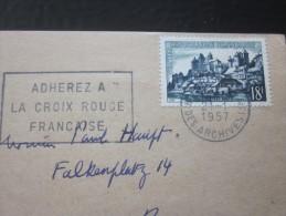 Marcophilie Flamme Croix-Rouge Française 1957 Lettre CP à Tête  Lengellé Timbre SSL Uzerche>Berne En Suisse - 1961-....