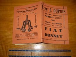 Catalogue pi�ces adaptables aux Fiat & Donnet tous types ; E. Dupuis rue Guersant Paris