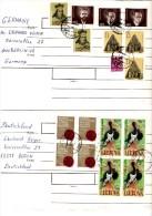 Lot de 4 enveloppes de lituanie pour l'Allemagne_ann�e 1993