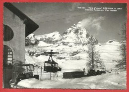 CARTOLINA VG ITALIA - CERVINIA (AO) - Stazione Funivia Per Pian Maison - 10 X 15 - ANN. BREUIL 1953 - Seilbahnen