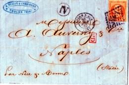 PIEGOO A NAPOLI IN ITALIA  POSTALE ANTICO-TOLONE--26-8-1867- DITTA TERRIN CORDOUAN - 1863-1870 Napoléon III Lauré
