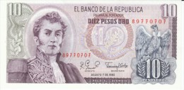 Colombia #407g, 10 Pesos Oro, 1980 Banknote Currency - Colombia