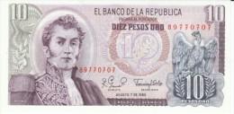 Colombia #407g, 10 Pesos Oro, 1980 Banknote Currency - Kolumbien