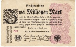 Germany #104c, 2 Millionen Marks, 9.8.1923 Banknote Currency - 2 Millionen Mark