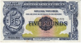 United Kingdom #M23, 5 Pound British Armed Forces Special Voucher Banknote Currency - Military Issues