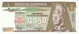 Guatemala #65, 50 Centavos 1986 Banknote Currency - Guatemala
