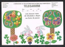 PORTUGAL TELEGRAMA SERVIÇO TELEGRAFICO PASCOA EASTERN PAQUES TELEGRAMME ( 2 SCANS ) - Télégraphes