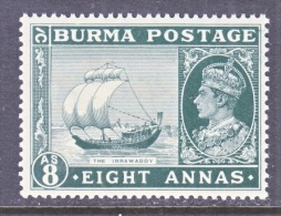 BRITISH  B URMA  29   **   SAILBOAT - Burma (...-1947)