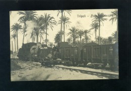 V1918 CARTOLINA FOTOGRAFICA LIBIA TRIPOLI PRIMA LOCOMOTIVA TRENO FERROVIA - Libya