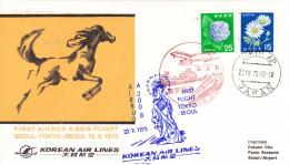 Tokyo Seoul 1975 - First Flight 1er Vol Erstflug - Airbus A 300 B - Japan Korea KAL - Korea (...-1945)