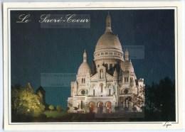 Paris La Nuit - Le Sacré-Coeur De Montmartre Illuminé - 1991 éd. LYNA - Utilisée Pour Concours - 2 Scans - Sacré Coeur