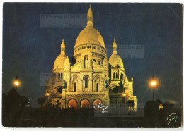Paris - La Basilique Du Sacré-Coeur De Montmartre Illuminée - 1990 éd. GUY - Utilisée Pour Concours - 2 Scans - Sacré Coeur