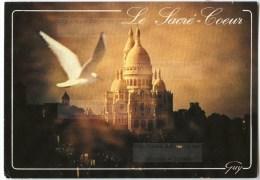 Paris - Le Sacré-Coeur De Montmartre Coucher De Soleil Avec Une Mouette- 1991 éd. GUY - Utilisée Pour Concours - 2 Scans - Sacré Coeur